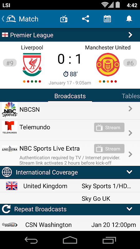 Live Football TV Schedules App 4.1.3.4 Android Screen 2