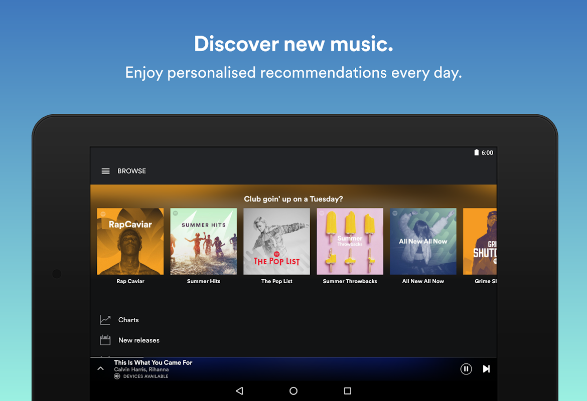 Android Spotify: Free Music Streaming Screen 2
