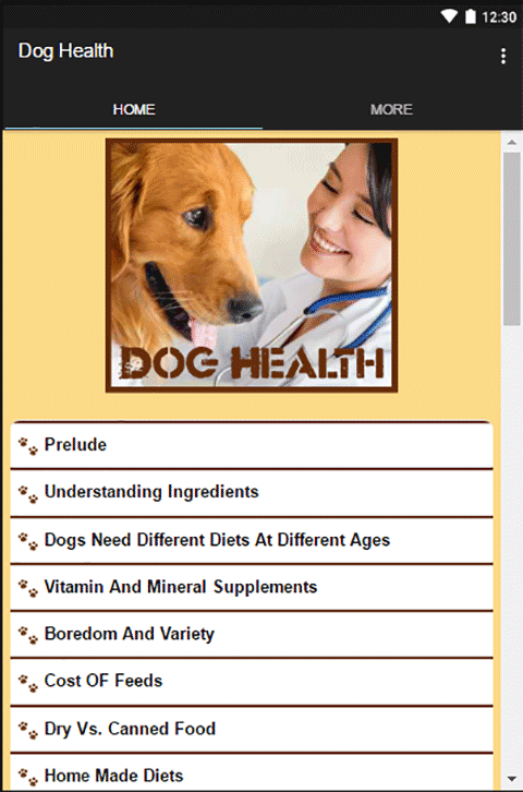 Android Dog Health Screen 1