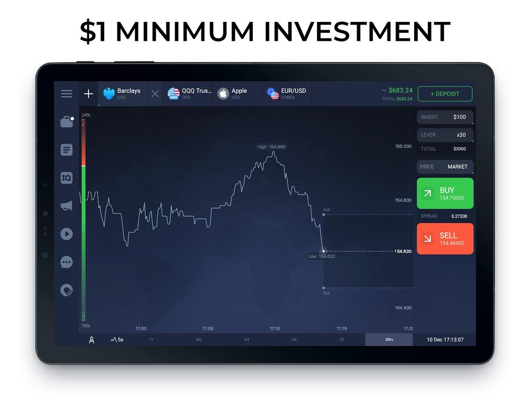 IQ Option broker: trade forex, CFD�s, bitcoin 5.20.0 Screen 5