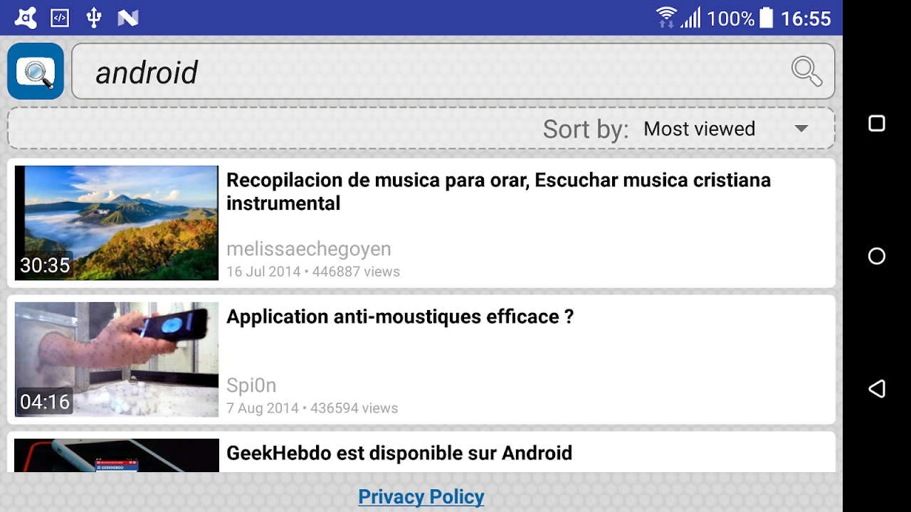 Android Quick Search for Dailymotion Screen 4