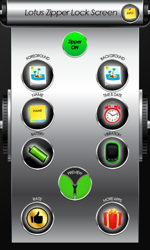 Android Lotus Zipper Lock Screen Screen 1