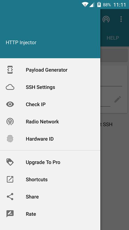 HTTP Injector 4.1.1 Screen 1