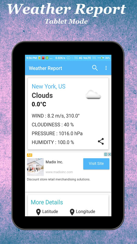 Android Weather Report Screen 6
