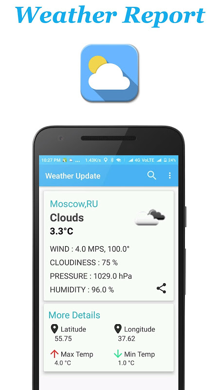 Android Weather Report Screen 2