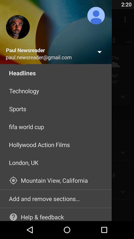 Google News & Weather 2.8.5 (136063537) Screen 1