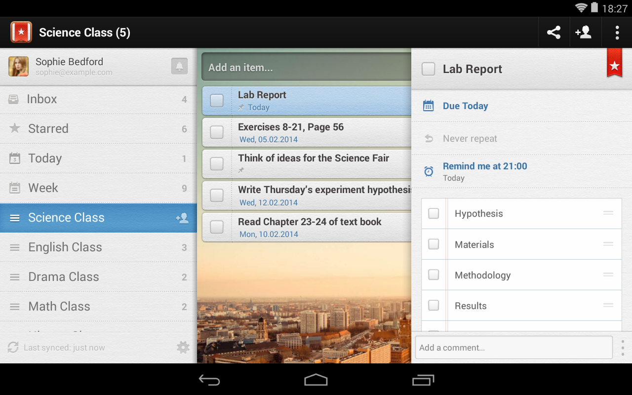 Android Wunderlist for Education Screen 1