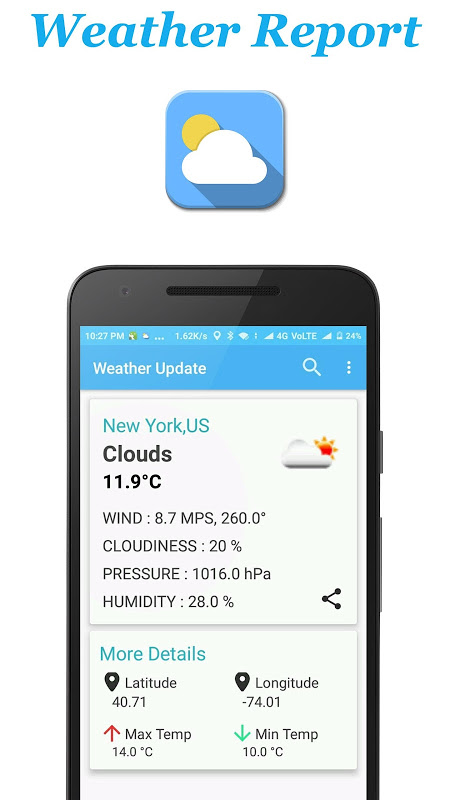 Android Weather Report Screen 3