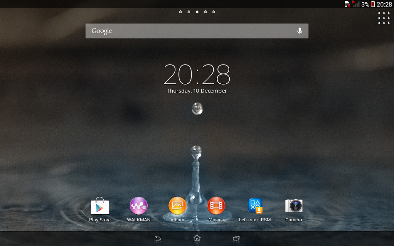 Android XPERIA™ Blue Water Theme Screen 9