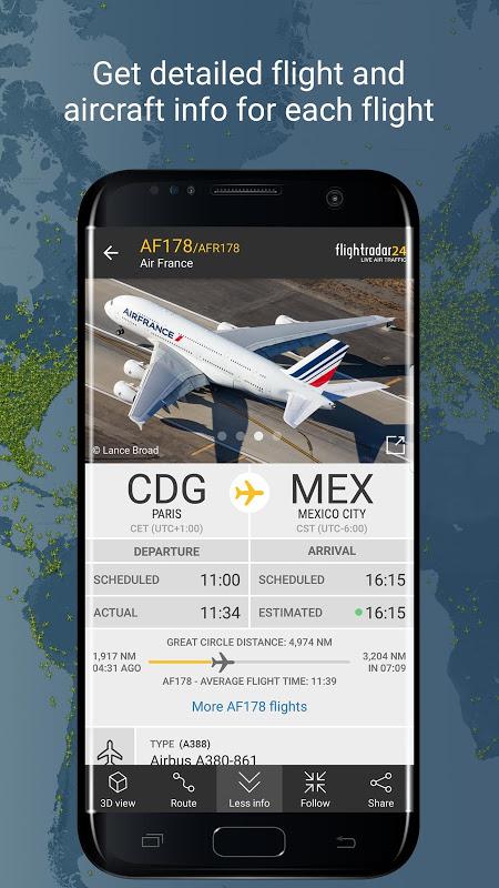 Android Flightradar24 Flight Tracker Screen 1