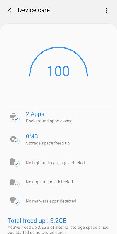 Device Care 10.5.00.30 Screen 1