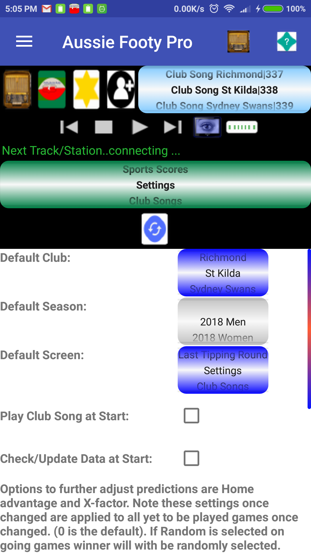 Aussie Rules Footy Predictor Plus 3.7 Screen 1