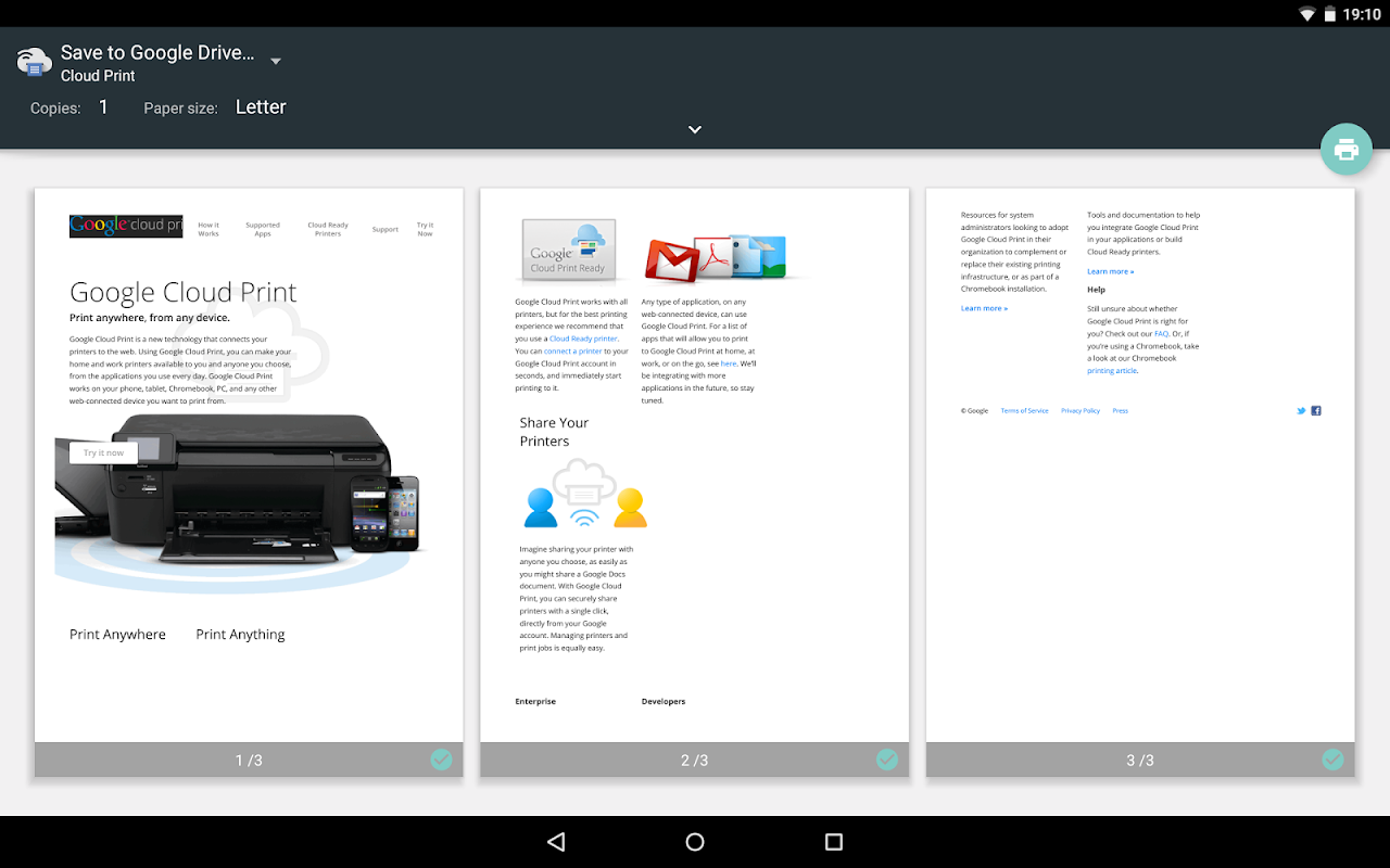 Android Cloud Print Screen 6