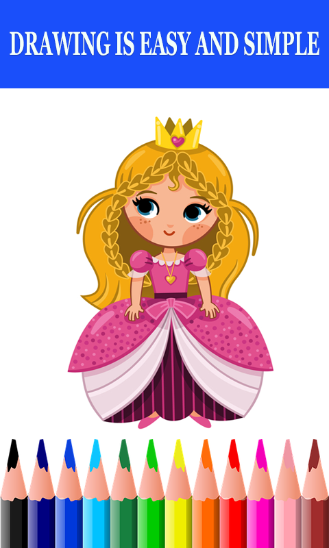 Android Cute Princess dolls Coloring Book Screen 1