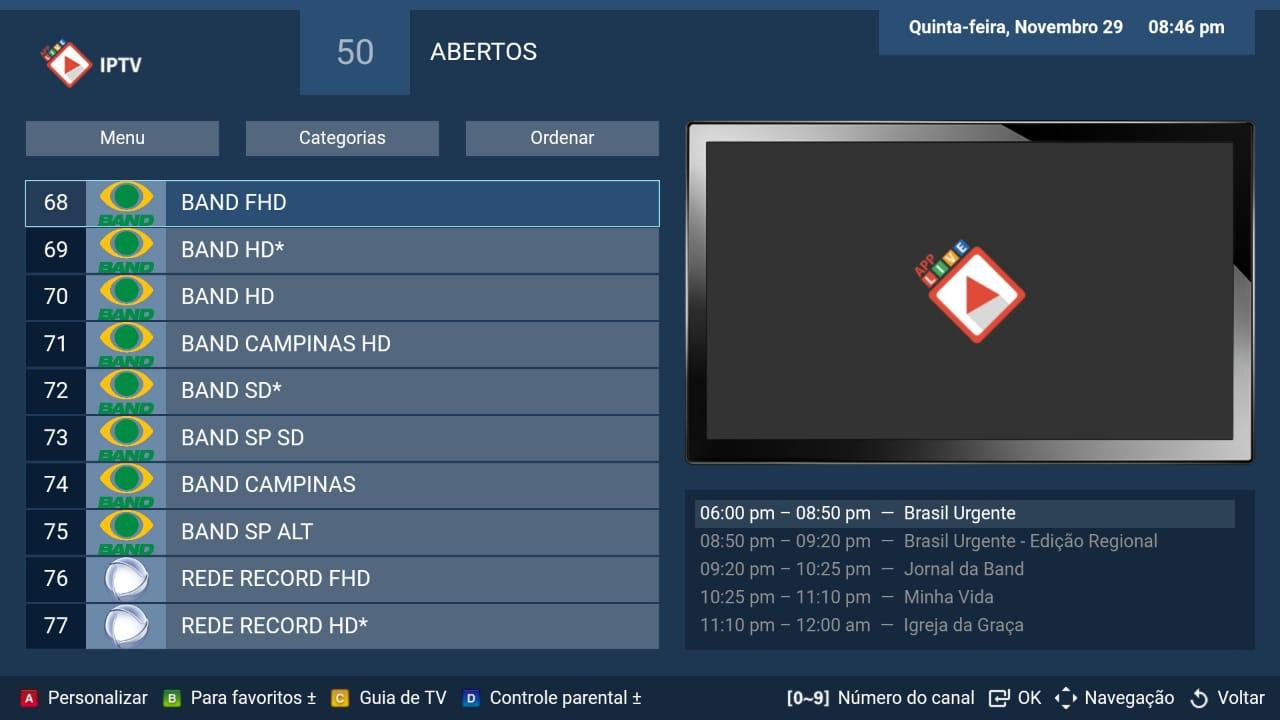 Android LIVE IPTV BR -  PRO Screen 3