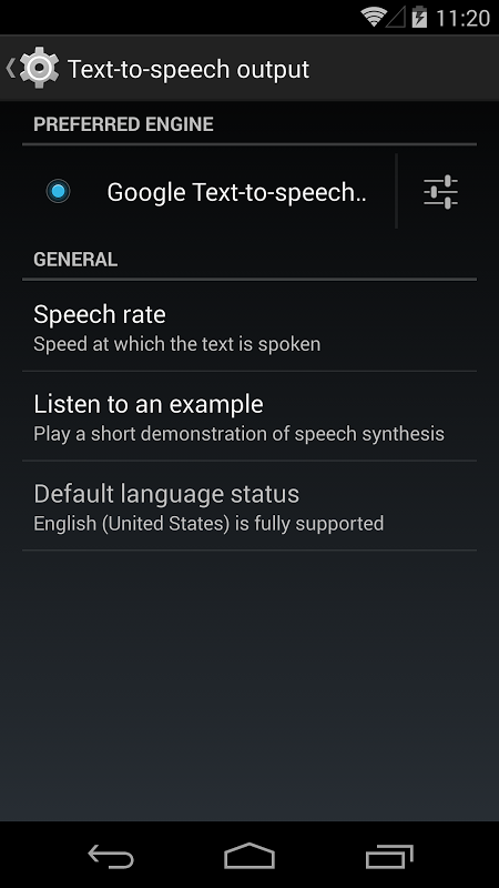 Motor de S?ntese de voz do Google 3.8.14 Screen 8