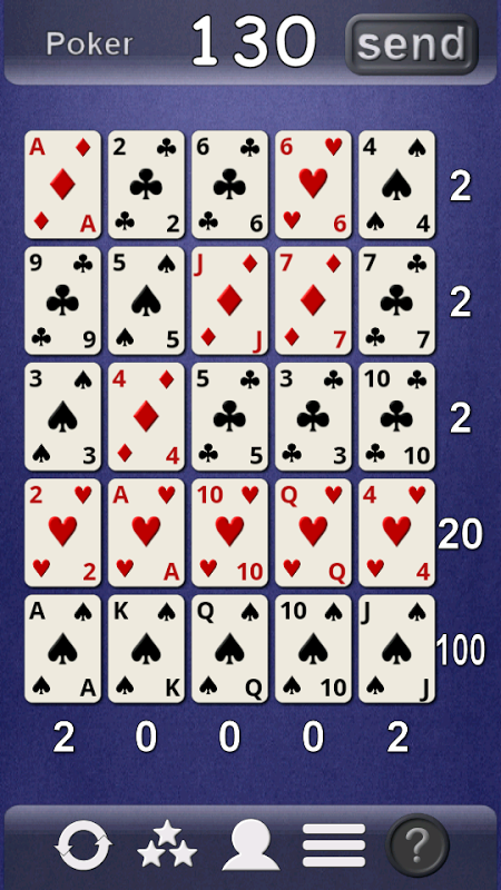 Android Poker Solitaire Screen 1