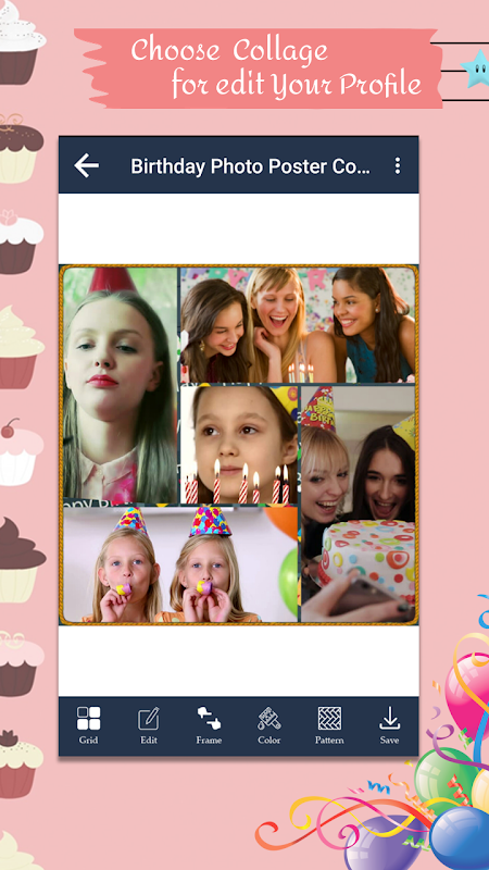 Android Birthday Photo Poster Collage Screen 2