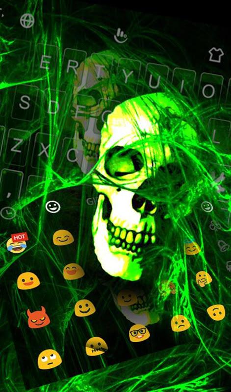 Android Neon Green Light Skull Keyboard Theme Screen 4