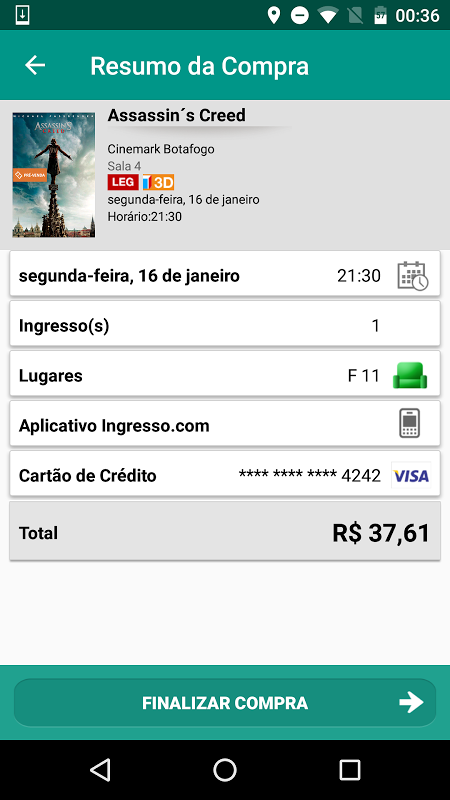 Android Ingresso.com Screen 5