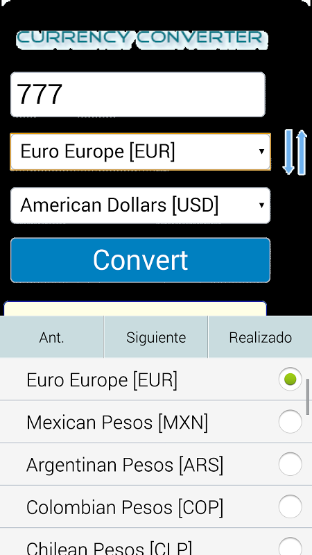 Android Full Conversor de Monedas Screen 1
