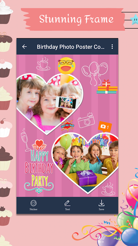 Android Birthday Photo Poster Collage Screen 4