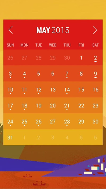 Android Calendar Widget: Month Screen 2