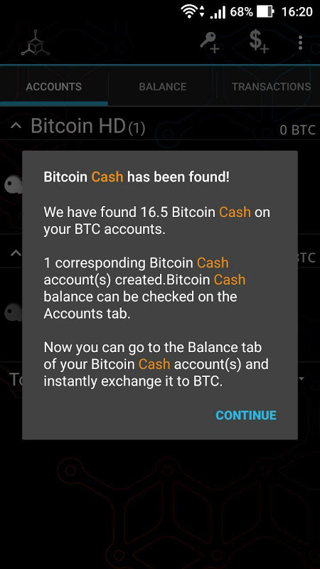 Android Mycelium Bitcoin Cash Module Screen 3