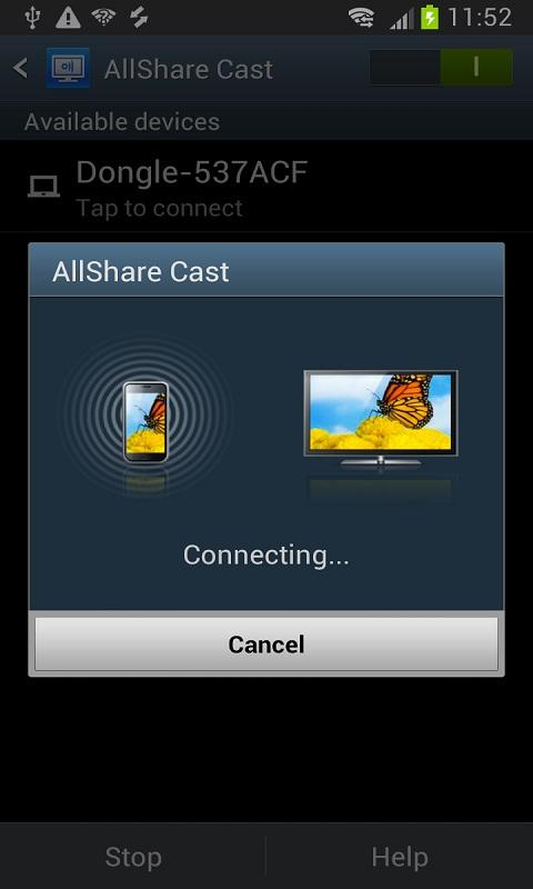 Android AllShareCast Dongle S/W Update Screen 1