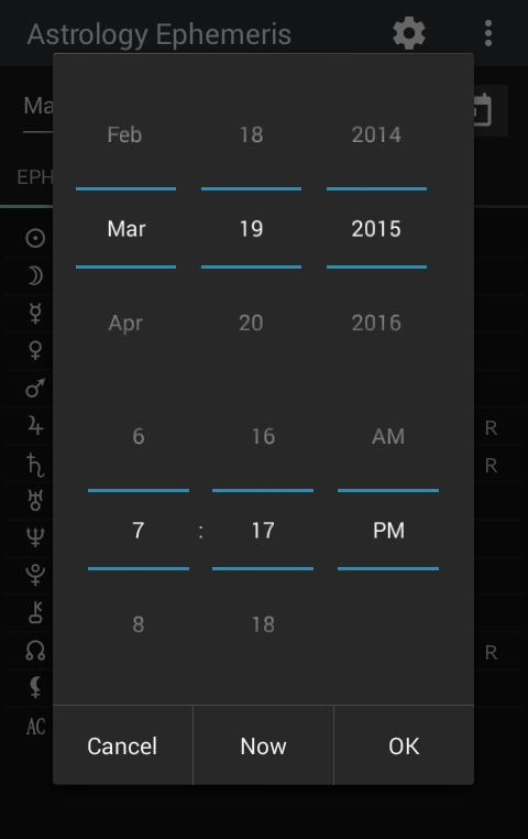 Astrology Ephemeris 0.5 Screen 5