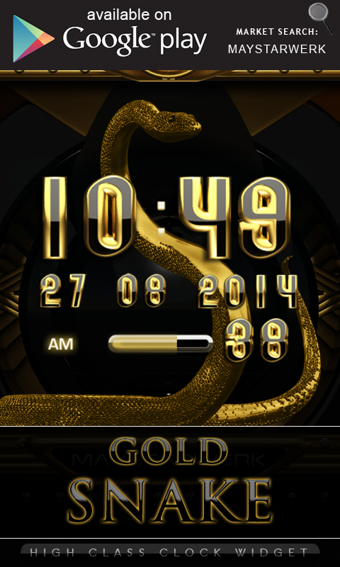 Android Gold Snake Clock widget Screen 2