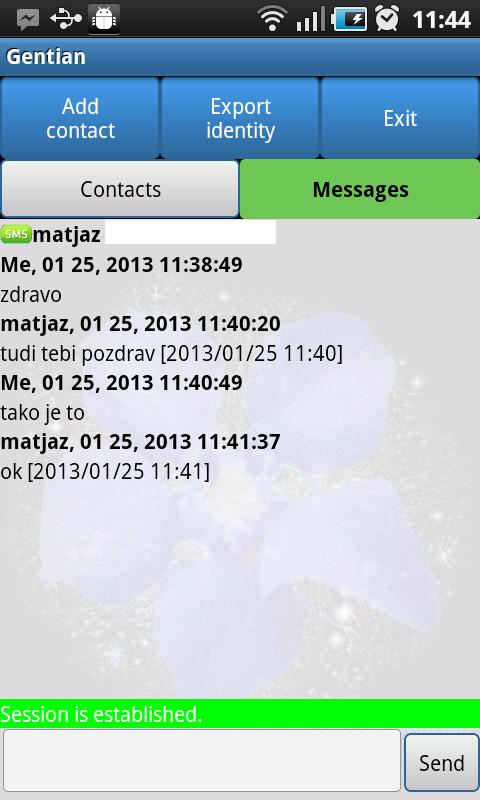 Gentian - Encrypted SMS 0.5.8 Screen 1