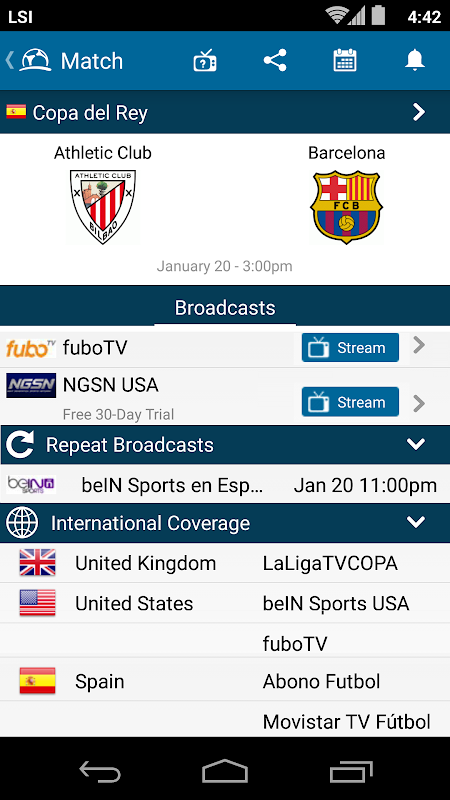 Live Football TV Schedules App 4.1.3.4 Android Screen 1