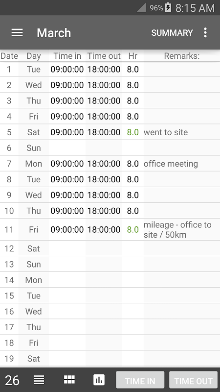 Time Card Lite 2.6.7 Screen 7