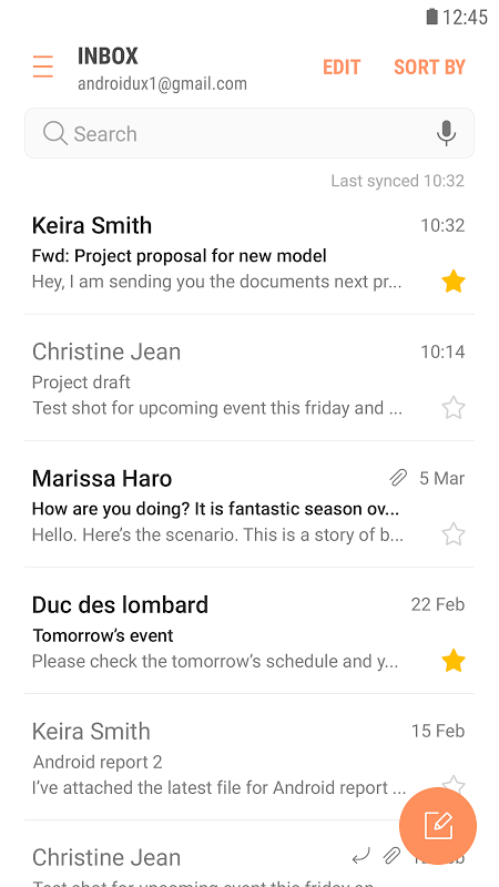 Samsung Email 4.1.64.0 Screen 1