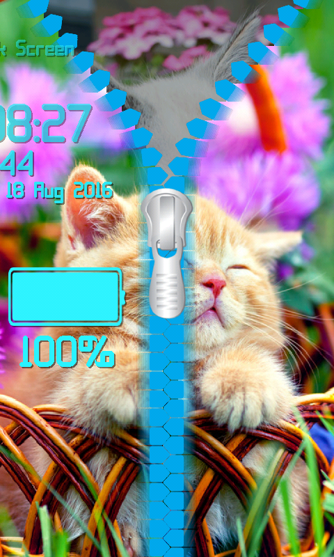 Android Kitty Zipper Lock Screen Screen 6
