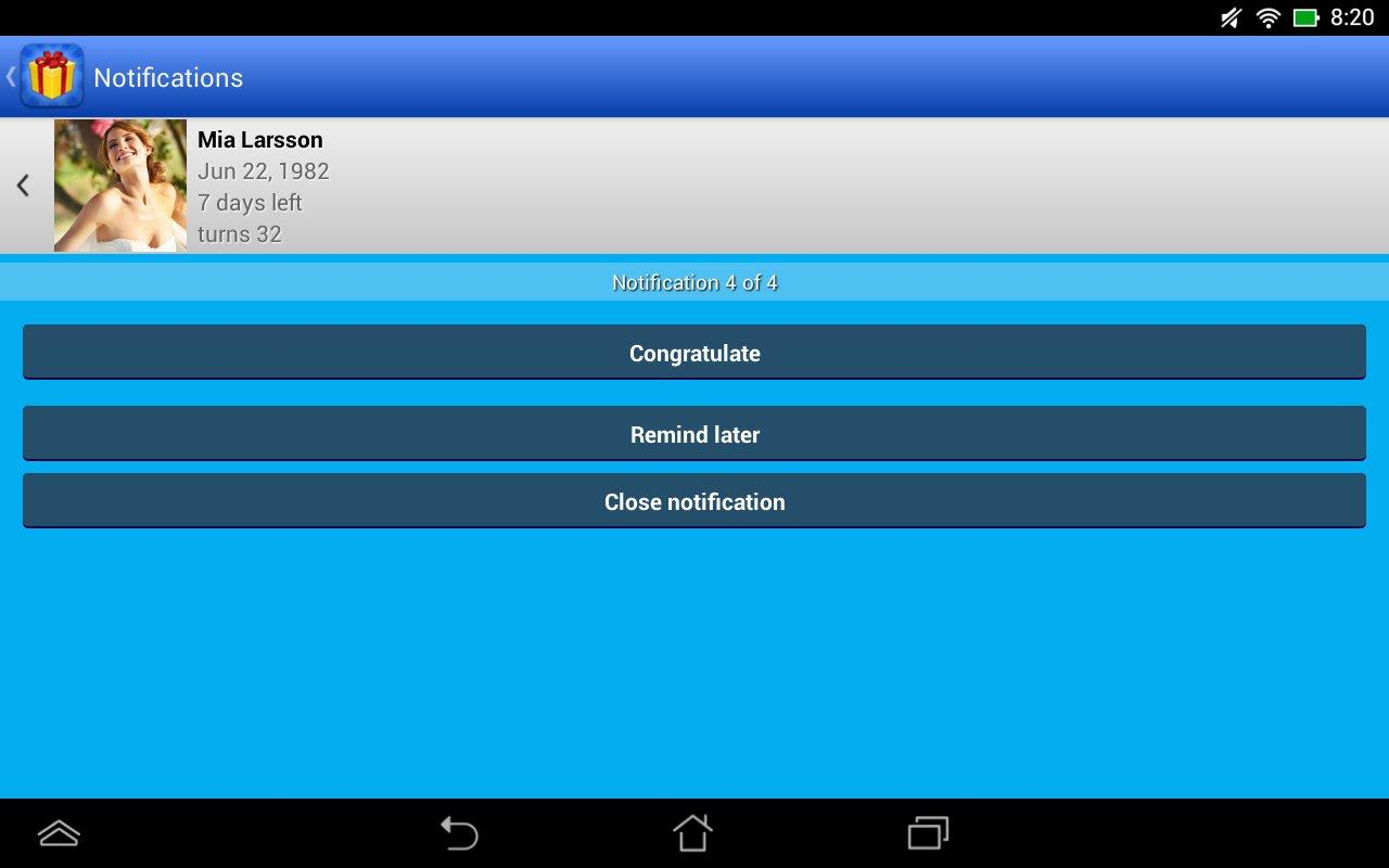 Birthdays for Android 3.4.11 Screen 5