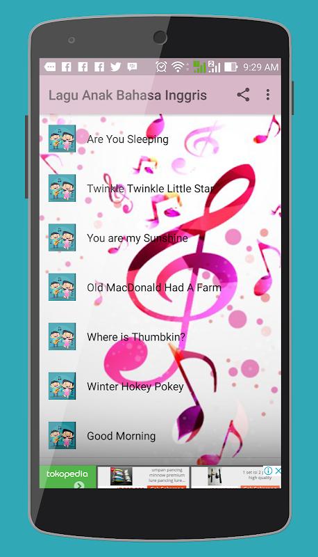 Android Lagu Anak Bahasa Inggris dan Lirik Screen 3