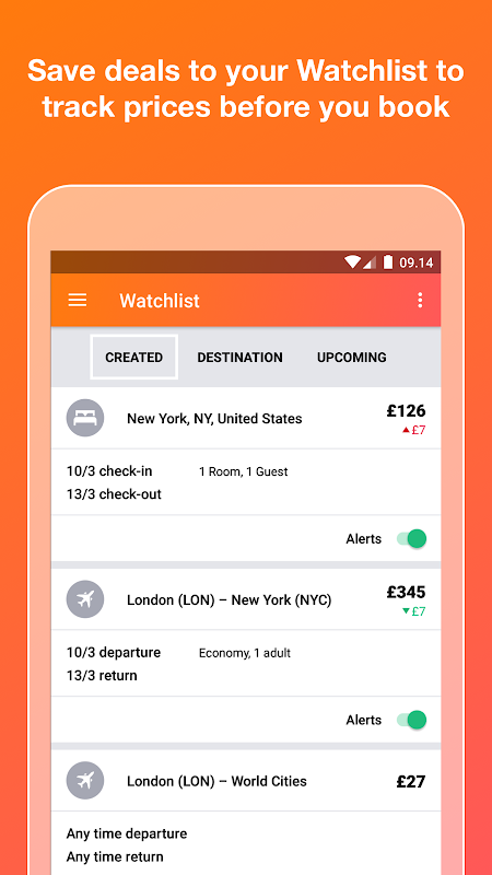 KAYAK flights, hotels & cars 73.1 Screen 1