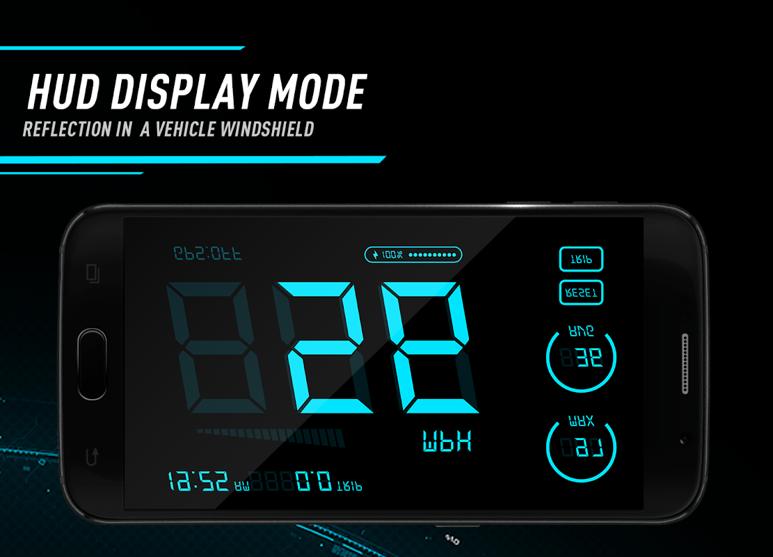 Android Hud Speedometer - Car Speed Limit App with GPS Screen 2