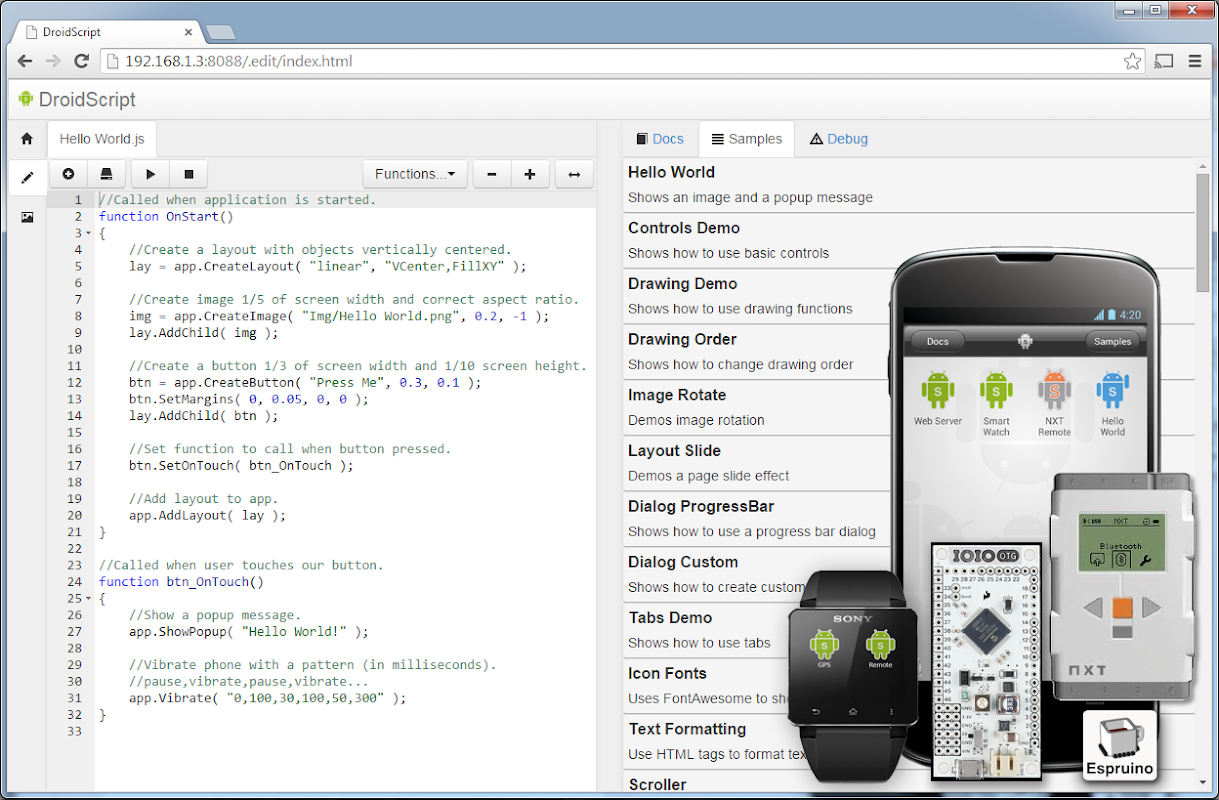 DroidScript - JavaScript Mobile Coding IDE 1.68 Screen 4