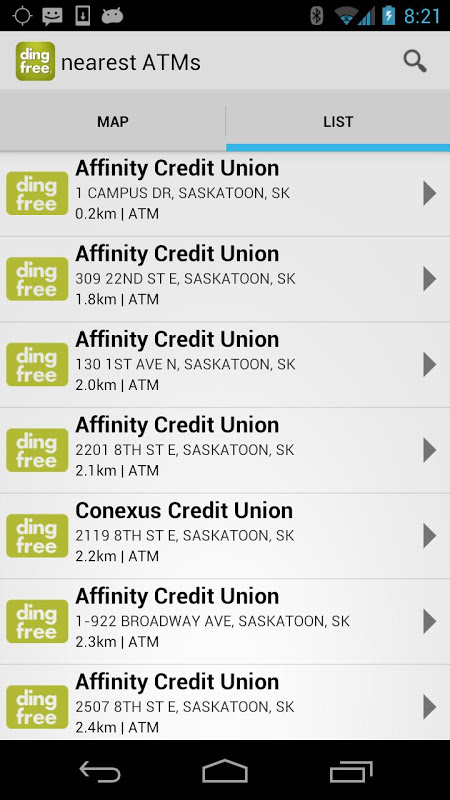 Android ding free ATM Locator Screen 1