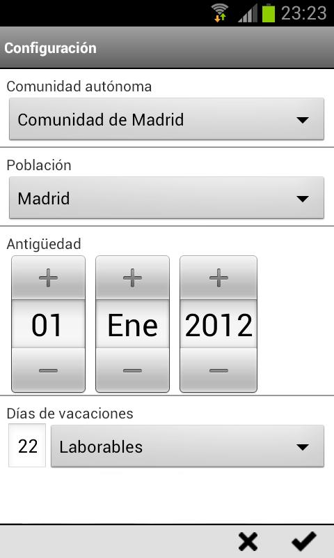 Android Calendario Laboral Screen 2