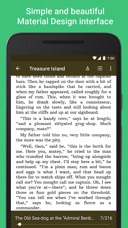 Android Lithium: EPUB Reader Screen 1