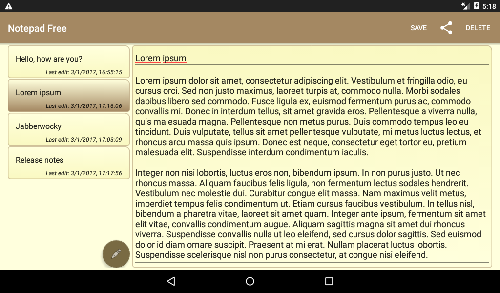 Notepad Free 1.3.2 Screen 3