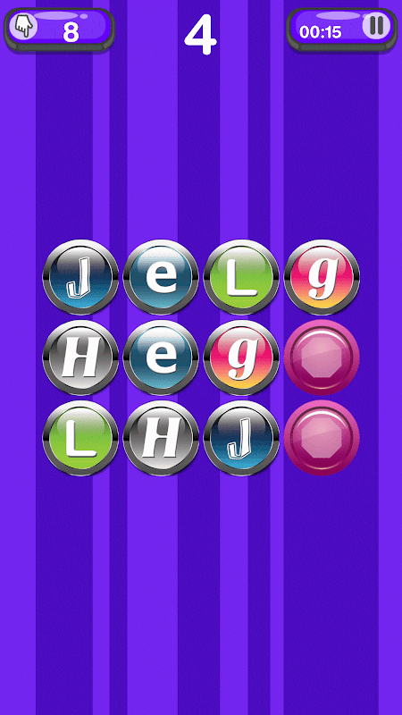 Android Memory Learning Game – Letters Screen 2
