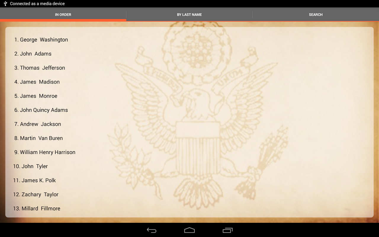 Android U.S. Presidents Screen 4
