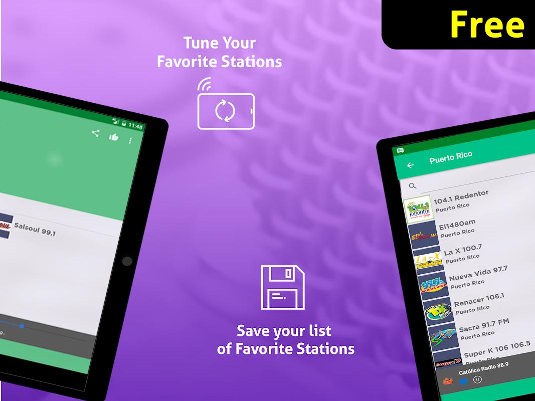 Android Free Puerto Rico Radio AM FM Screen 7