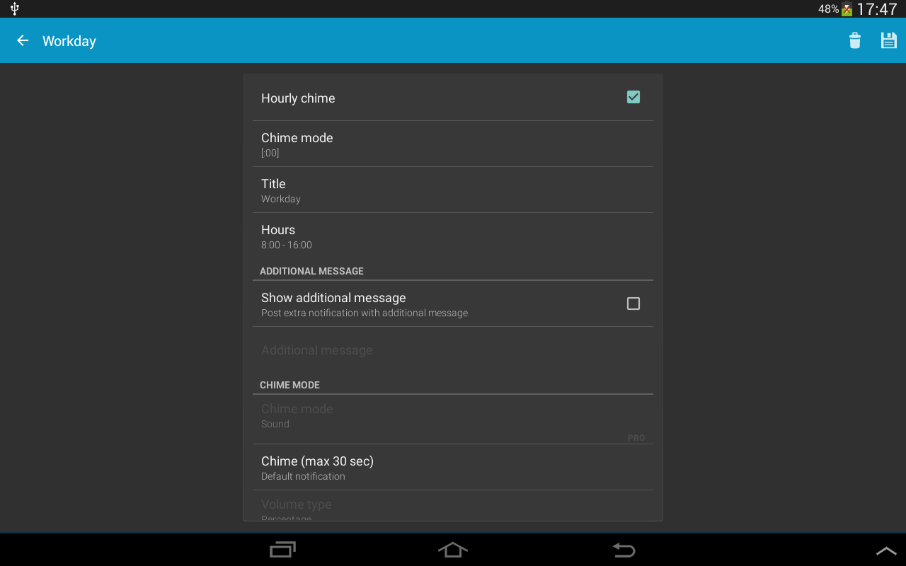 Hourly chime 5.7.2 (Android 6+) Screen 1