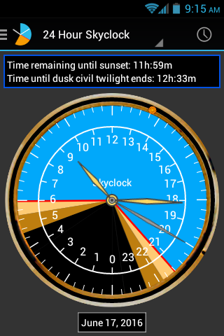 Android Skyclock Screen 1